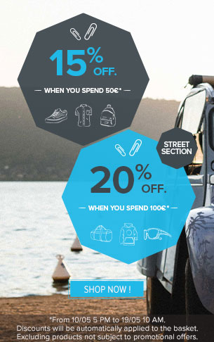 15% off when you spend £50 and 20% off when you spend £100 on Street!
