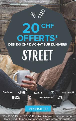 20CHF offerts dès 100CHF d'achat sur tout l'univers Street !