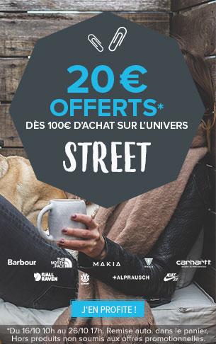 20€ offerts dès 100€ d'achat sur tout l'univers Street !