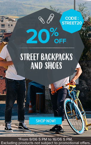 20% off Street Shoes and Backpacks