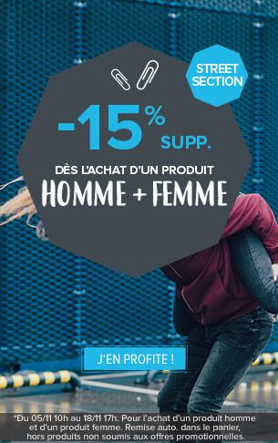 -15% supplémentaires dès l'achat d'un produit Homme & d'un produit Femme