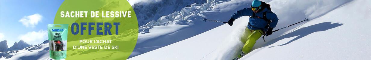 Un sachet de lessive liquide offert pour l'achat d'une veste de ski