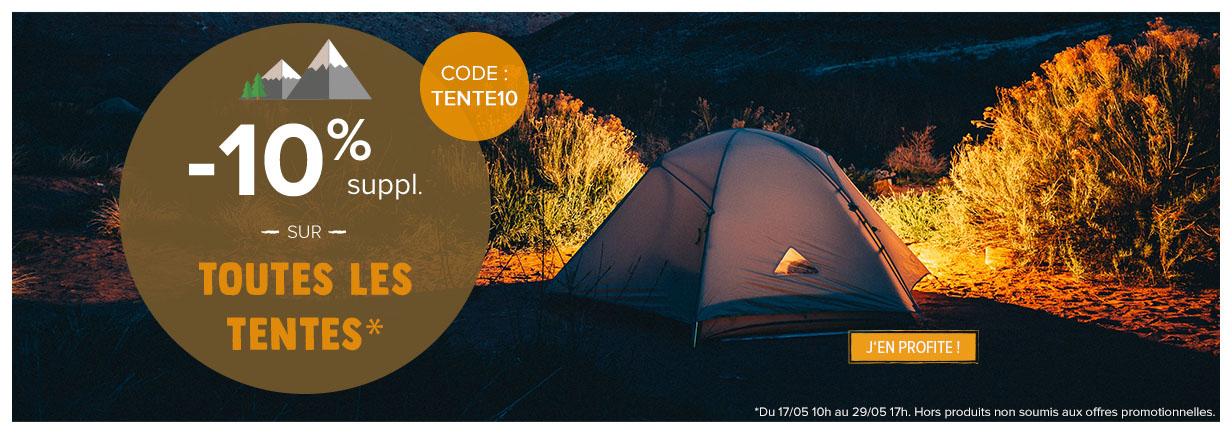 -10% supplémentaires sur le rayon tentes