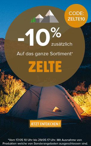 -10% zusätzlich auf das ganze Sortiment Zelte
