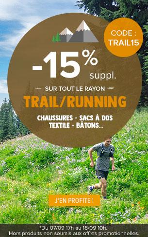 -15% supplémentaires sur tout le rayon Trail/Running