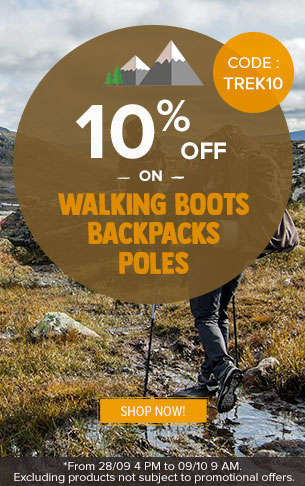 10% off on Walking boots, Backpacks and poles  : Deuter, Millet, Black Diamond..