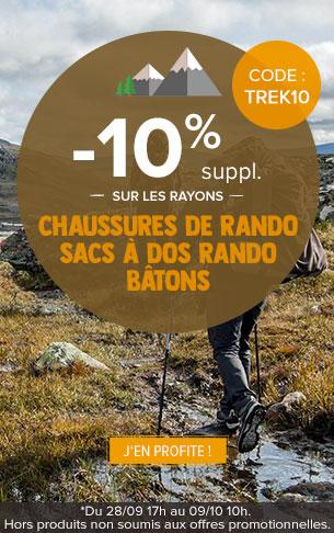 -10% supplémentaires sur les rayons Chaussures de rando, Sacs à dos randonnée et Bâtons
