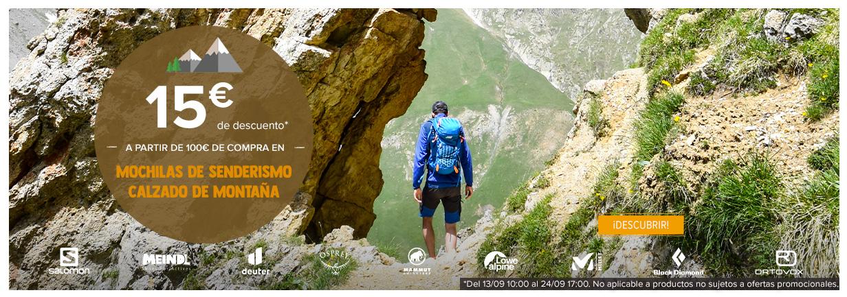 15€ de descuento a partir de 100€ de compra en mochilas de senderismo, calzado de montaña