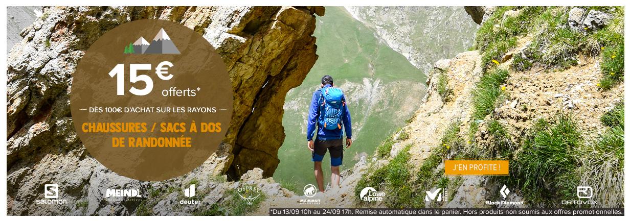 15€ offerts dès 100€ dépensés sur les rayons : chaussures, sac à dos de randonnée