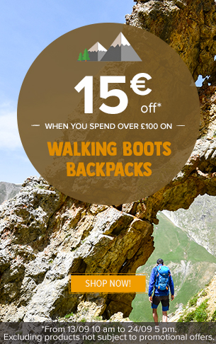 15€ off when you spend over 100€ on walking boots, backpacks