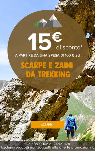 15€ di sconto a partire da una spesa di 100 € su scarpe e zaini da trekking