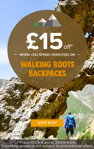 £15 off when you spend over £100 on walking boots, backpacks