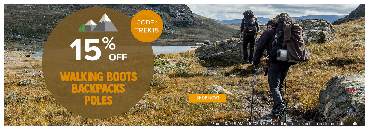 15% off on Walking boots, Backpacks and poles  : Deuter, Millet, Black Diamond..