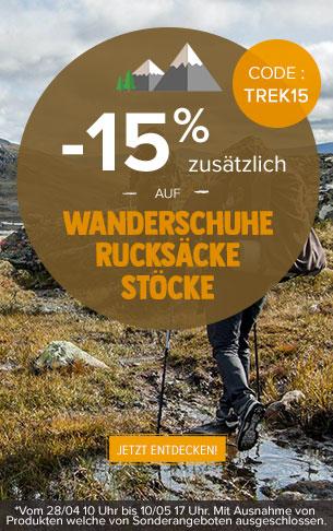 -15% zusätzlich auf Wanderschuhe, Rucksäcke und Stöcke : Deuter, Millet, Black Diamond..