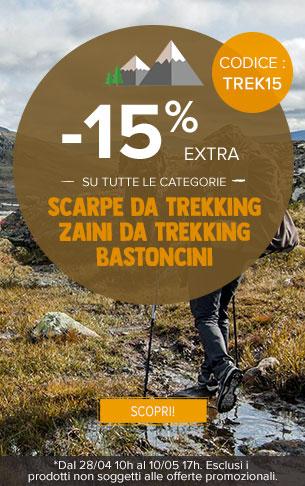 -15% extra su Scarpe da Trekking, Zaini da Trekking y Bastoncini