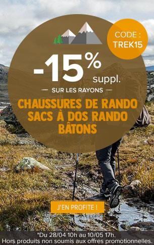 -15% supplémentaires sur les rayons Chaussures de rando, Sacs à dos randonnée et Bâtons