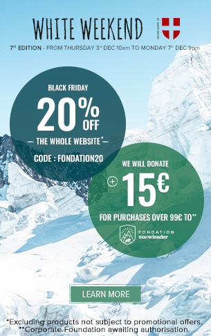 Enjoy 20% off across the whole website and Snowleader will donate 15€ for purchases over 99€ to the Snowleader Corporate Foundation