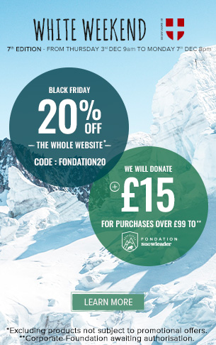 Enjoy 20% off across the whole website and Snowleader will donate £15 for purchases over £99 to the Snowleader Corporate Foundation